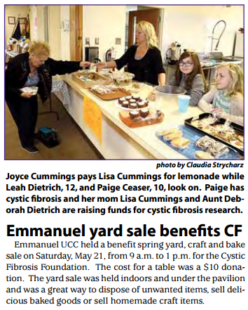 Emmanuel yard sale benefits CF