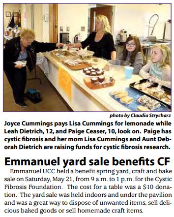 Emmanuel yard sale benefits CF