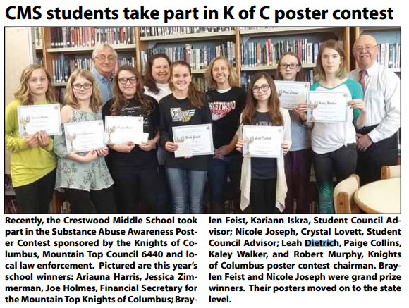 CMS students take part in K of C poster contest