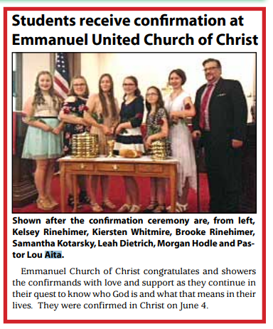 Students receive confirmation at Emmanuel United Church of Christ