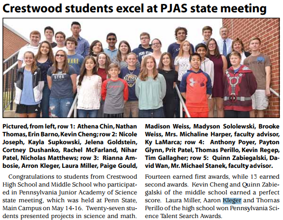 Crestwood students excel at PJAS state meeting