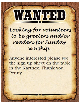 Readers and Greeters needed
