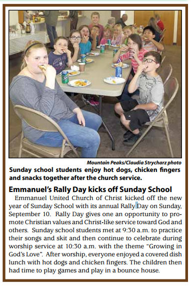 Emmanuel's Rally Day kicks off Sunday School
