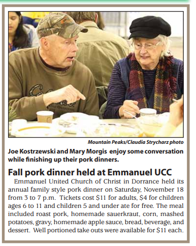 Joe Kostrzewski and Mary Morgis enjoy some conversation while finishing up their pork dinners at our annual Pork Dinner held on November 18.