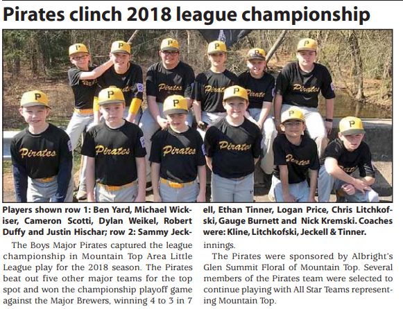 Pirates clinch 2018 league championship