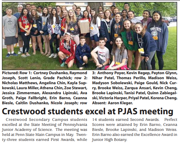 Crestwood students excel at PJAS meeting