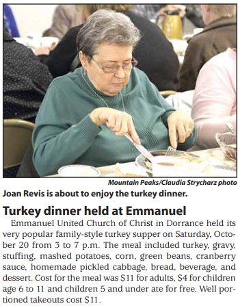 Joan Revis is about to enjoy the turkey dinner.